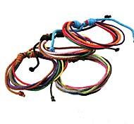 pulseras bastante simples multicolores hechos a mano de cuero cuerda de cáñamo (color al azar)
