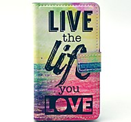 Live Life You Love Pattern PU Leather Cover Full Body Case with Card Slot for Nokia Lumia N520