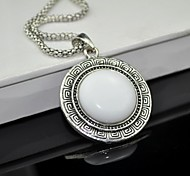 Toonykelly® Vintage Antique Silver White Stone Necklace(White)(1 Pc)