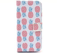 Red Pineapple Pattern on White PU Leather Full Body Case for iPhone 6