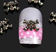 10pcs   Fashion Rhinestone Crossing  Skull 3D Alloy Nail Art Decoration