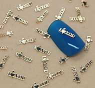"200PCS ""I LOVE YOU""Golden Metal Slice Nail Art Decoration"