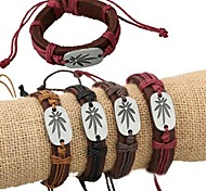 European Style Fashion Punk Alloy Maple Accessories Leather Bracelet
