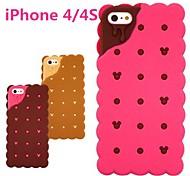 3d caso di gomma del silicone di disegno biscotto panino per iphone 4 / 4s (colori opzionali)