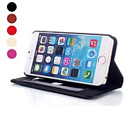 Genuine Leather Magnet Closure Folio Protective Cover with Stand for iPhone 6 (Assorted Color)