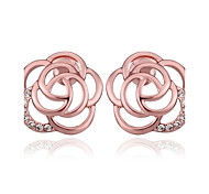 squelette de mode fleur rose en or rose boucles d'oreille en plaqué or (or rose) (1 paire)