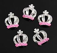 10pcs Pink Pearl Crown Design Silver 3D Alloy Nail Art Decoration