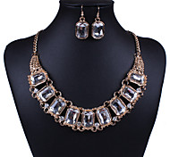 Expensive Transparent Rhinestone (Necklaces&Earrings) Gemstone Jewelry Sets