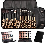 12pcs Goat/Pony/Horse hair Makeup Brushes set concealer/powder/blush brush shadow/brow/eyeliner/eyelash/lip brush+15 color concealer Leopard Package