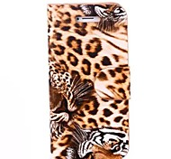 Leopard Print Pattern PU Leather Cover with Stand for iPhone 6