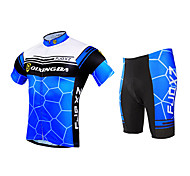 FJQXZ Men's Honeycomb Design Breathable Mesh Jersey Lycra Shorts Summer Short Sleeve Cycling Suit - Blue+White