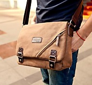 Men's Outdoors Fashional British Style Brown Canvas Cowhide Business Single-Shoulder Bag