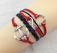Vintage The Ship Rudder 18cm Women's Black-Red Alloy Wrap Bracelet(Black-Red)(1 Pc)
