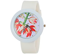 Women's Fashion Colorful Flower Round Dial White Silicone Band Wrist Watch