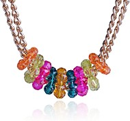 Lureme®Coarse Gold Chain  Colorful Bead Short Necklace