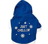 Dog Hoodie Blue Spring/Fall Snowflake Fashion