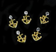 10pcs   3D Golden Alloy Boat Model For DIY Finger Tips Jewelry Accessories Nail Art Decoration