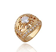 Women's Fashion Hollow Design 18K Gold Plated Zircon Rings