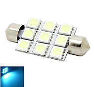 41mm 2W 9x5050 SMD LED 180lm Crystal Blue Lights Festoon Dome Reading Map License Plate Light Bulb for Car (DC 12V)