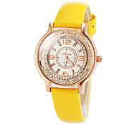 Women's Fashion Roll Diamond Design Dial Leather Band Quartz Wrist Watch(Assorted Colors)
