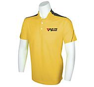 polyester + spandex de pgm hombres camisa de polo de golf de manga corta transpirable amarilla