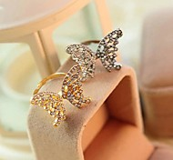 Lureme®Fashion Full  Diamond Hollow Out Bow Opening Ring