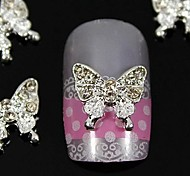 10pcs   Beauty Butterfly Rhinestone Jewelry Accessories For  Finger Tips  Nail Art Decoration