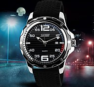 Men's Fashion Style Calendar Black Silicone Band Quartz Wrist Watch(Assorted Colors) Cool Watch Unique Watch