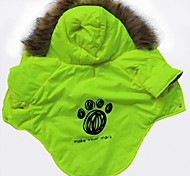 Footprint Pattern Cotton-Padded Hoodies T-Shirt for Pets Dogs (Light Green Assorted Sizes)