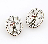 Simple Eiffel Tower Rhinestone Earrings