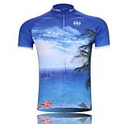 XINTOWN Men 's Sea Breathable Polyester Short Sleeve Cycling Jersey -Blue