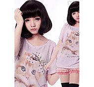 Zipper Cute Girl Black Short Bob Classic Lolita Wig