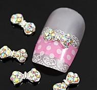 10pcs colorfull strass arc alliage de cravate Accessoires ongles nail art décoration