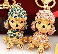 caniche de mode incrusté de diamants porte-clés (rose&rouge&bleu) (1 pc)