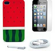 caso duro de la sandía y el patrón protector de pantalla y el stylus y el cable para el iphone 4 / 4s