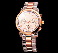 Women's Gold Dial Plastic Band Quartz Wrist Watch