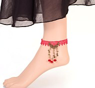 European Sexy Red Gem Branch Lace Anklet
