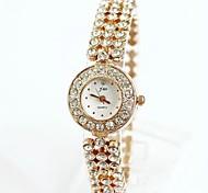 la tercera ronda taladro completo de la mujer se levantó relojes pulsera de oro