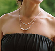 shixin® collana pendente in argento dell'annata doppia catena di perle (1 pc)