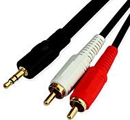3m 9,8 pés áudio de 3,5 mm macho para 2 cabos de áudio RCA macho para computador frete grátis telefone mp3 mp4 tv