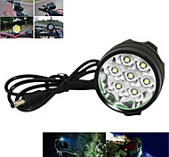 Front Bike Light,Marsing 7 x CREE XM-L T6 3-Modes 7000lm White LED Bike Light / Headlamp - Black (6 x 18650 Included)