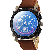 Men's Racing Style Leather Band Quartz Wrist Watch (Assorted Colors)