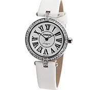 TIME100 senhoras mostrador redondo alça de cetim strass estilo britânico de quartzo japonês relógio de vestido