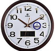 "POWER™ 15""H Perpetual Calendar  LCD Imitation Wood Grain Coating  Super Mute Wall Clock"