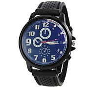 Men's Simple Round Dial Rubber Band Quartz Analog Sport Watch (Assorted Colors)