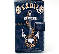 Black Anchor Chain Ship Pattern PU Leather Cover Full Body Case with Card Slot for Nokia Lumia N520