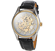 Men's Auto-Mechanical Skeleton Dial Black Leather Band Wrist Watch (Assorted Colors)