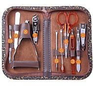 10pcs ongles en acier inoxydable scissor kit de manucure pédicure
