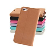 Fashion Wallet Style PU Leather Full Body Case with Stand and Card Slot for iPhone 5/5S
