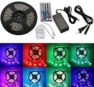 waterdicht 5m 300x3528 SMD RGB LED strip flexibele light + rgb 44Key afstandsbediening + AC-adapter (AC100-240V)